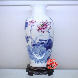 景德鎮陶瓷器寫意花草荷花冬瓜瓶