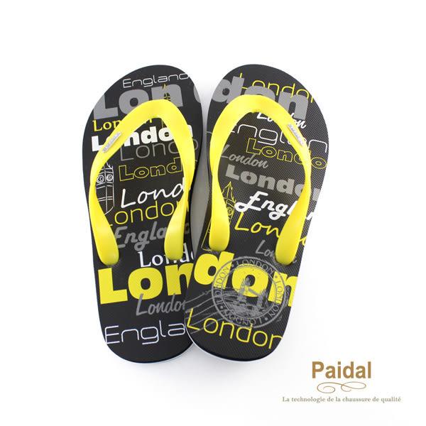 Paidal 男款塗鴉風個性倫敦夾腳拖鞋海灘拖鞋-黑