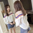 露肩雪紡衫女短袖夏季2019新款超仙甜美荷葉邊網紗蕾絲拼接上衣服