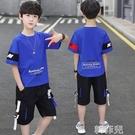 男童套裝 童裝男童夏裝套裝新款中大童兒童洋氣短袖兩件套帥氣男孩潮衣 韓菲兒