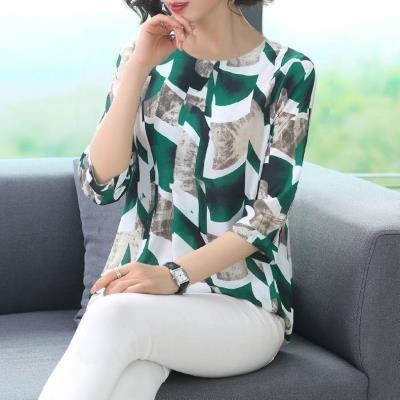 大碼棉衫短T~女裝上衣中年仿冰絲洋氣小衫減齡T恤2F079D愛尚布衣