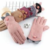 皮手套可觸摸屏麂皮絨加厚加絨分指手套 冬季 女士開車防風保暖五指手套