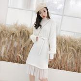 大韓訂製秋冬連身裙法式連身洋裝針織過膝長版打底襯裙