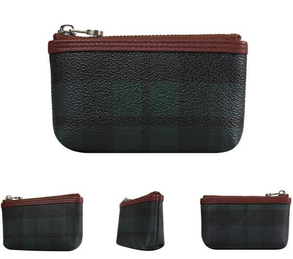 【橘子包包館】SANTA BARBARA POLO 綠格 男用 零錢包/鑰匙包 SB38-01407