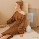 AIR SPACE LADY 慵懶風側開衩長袖針織洋裝 2色