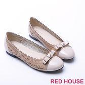 【RED HOUSE-蕾赫斯】蝴蝶結幾何簍空包鞋(卡其色)