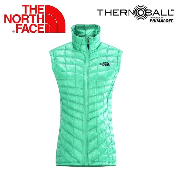 【The North Face 女 ThermoBall 暖魔球 保暖背心 浪花綠】 CUD6/暖魔球背心