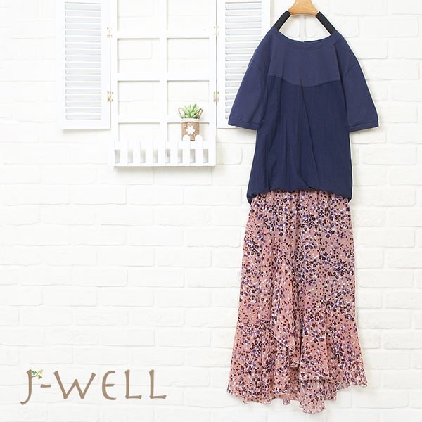 J-WELL 質感拼接T花長裙二件組(組合766 8J1414藍/白+8J1449粉/藍)