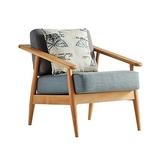 北歐簡約自然實木框可拆洗單人座布沙發(附抱枕)-淺藍色