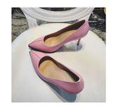 尖头防水台细高跟单鞋 新真皮工作鞋粉色牛皮高跟鞋  :bbgu142