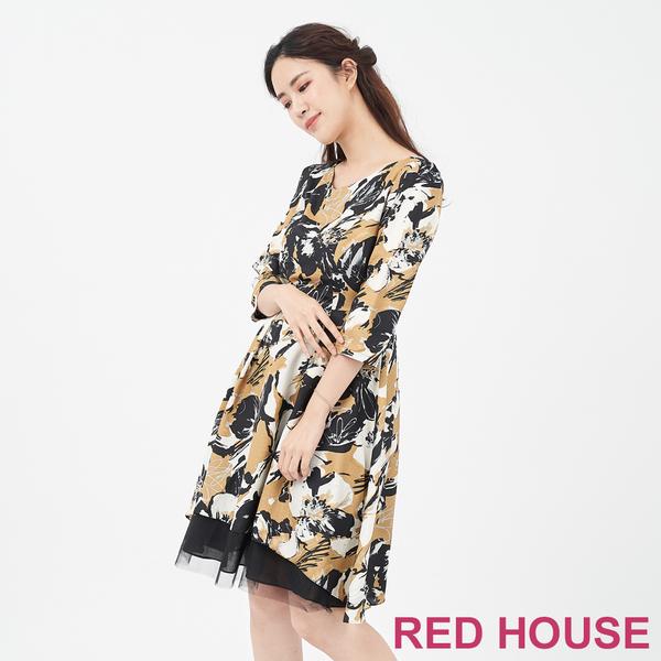 RED HOUSE-蕾赫斯-V領花朵透紗洋裝(卡其色)
