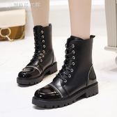 馬丁靴女英倫風平底中筒靴冬季女靴粗跟 機車靴【鉅惠↘滿999折99】
