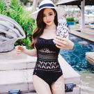 歐美 性感 連身 泳衣 比基尼 針織 鏤空 性感 網狀 bikini 鈕扣 歐美