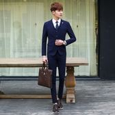 西裝套裝含西裝外套+西裝褲(三件套)-簡約素面百搭設計商務男西服3色73hc32[時尚巴黎]