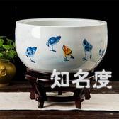 魚缸 陶瓷器魚缸荷花盆手繪養魚烏龜缸睡蓮金魚缸客廳獨立式擺件T 2色