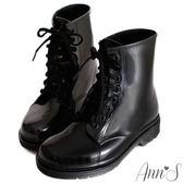 Ann'S可愛俐落-綁帶馬汀雨靴-全黑