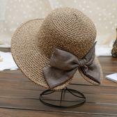 太陽帽女沙灘遮陽帽甜美海邊青年大草帽檐女士出游英倫防曬帽子夏夢想巴士