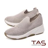 TAS透氣飛織布拼接牛皮休閒鞋-百搭灰