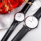 mono 簡約 高雅 設計美學 藍寶石水晶 真皮錶帶 小羊皮 對錶 黑色 5003B白釘大+5003B白釘小