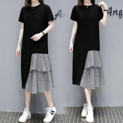M4XL胖妹妹大碼洋裝連身裙~短袖T恤連身裙過膝拼接長裙4F101莎菲娜