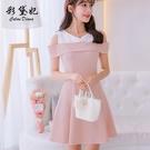 短袖洋裝—春夏新款大碼韓版短袖百搭連身裙女時尚顯瘦拼接打底裙
