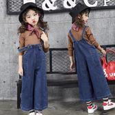 童裝牛仔背帶褲女童12-15歲韓版寬鬆兒童女2018新款大口袋闊腿褲【小梨雜貨鋪】