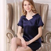 睡衣(裙裝)-真絲短袖純色簡約居家舒適女居家服5色73nq57【時尚巴黎】