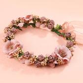 年終享好禮 新娘韓式森女海邊花環頭飾頭環新娘伴娘兒童結婚禮婚寫真發飾