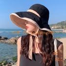 漁夫帽夏遮臉遮陽帽大帽檐雙面大沿防曬太陽帽【橘社小鎮】
