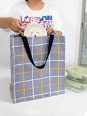 購物袋 帆布手提袋女便攜防水購物麻布裝手拎簡約折疊學生書兜袋包大容量