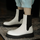 手工真皮女鞋34~40 2020帥氣百搭圓頭中跟切爾西靴 馬丁靴 短靴子 ~2色