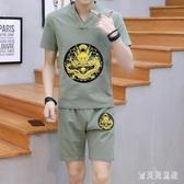 大碼 中國風男士棉麻套裝 復古民族風上衣龍袍刺繡短袖t恤短褲一套 CJ4101『寶貝兒童裝』