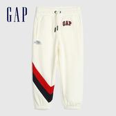 Gap女幼童 Logo撞色條紋鬆緊運動褲 584896-奶色條紋