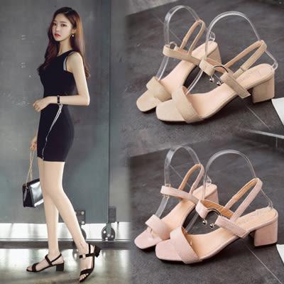 韓系簡約方頭中跟一字涼鞋