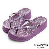 PLAYBOY 野性叢林~滿版兔頭水鑽厚底夾腳拖鞋-紫(女)