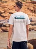 男士短袖T恤韓版潮流背後山峰印花純棉閒圓領半截袖上衣 潮流館