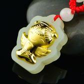 金鑲玉項鍊 和闐玉吊墜-平安天使生日情人節禮物男女飾品73gf49[時尚巴黎]
