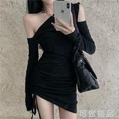 洋裝女新款夏性感露肩氣質修身包臀裙短裙顯瘦緊身黑色裙子 可然精品