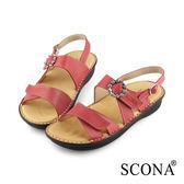 SCONA蘇格南 全真皮 手工舒適鑽飾厚底涼鞋 紅色 31016-2