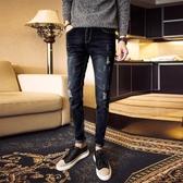 社會小伙褲子夜店個性破洞牛仔褲男青少年修身小腳黑色褲子
