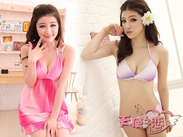 *╮天使之戀-泳裝館╭*SQ12042粉/紫花漾風情三件式比基尼泳衣