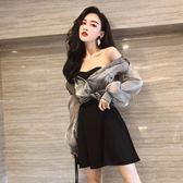 夜店洋裝 歐根紗長袖防曬襯衣夜店女裝性感抹胸連身裙很仙的法國小眾兩件套 唯伊時尚
