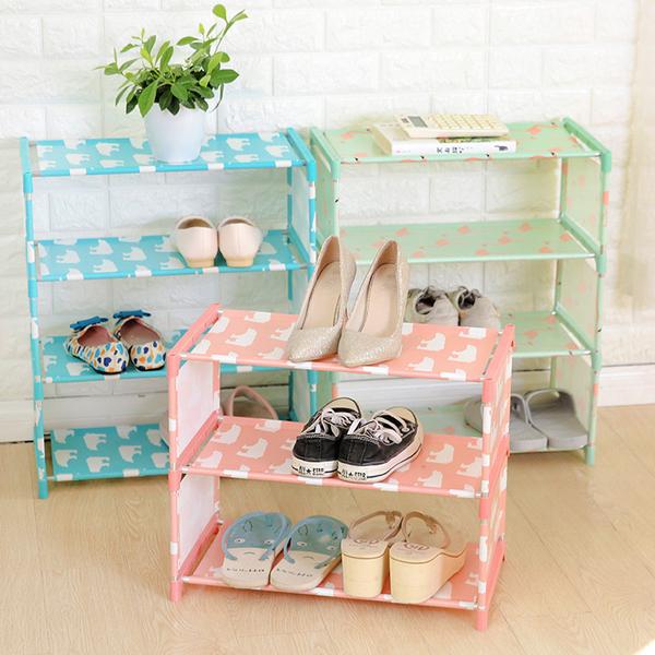 【四層鞋架】DIY組裝簡易4層拖鞋架 鞋子4格收納架 置物架 鞋櫃