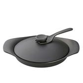 日本柳宗理 南部鐵器雙耳平底煎鍋(附黑鐵蓋)