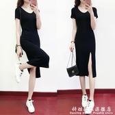 V領黑色洋裝女夏新款莫代爾短袖大碼修身顯瘦性感開叉長裙 聖誕節免運