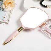 全館83折高清手柄化妝鏡手拿美容院化妝鏡子便攜隨身牙科復古花邊單面小鏡