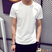 夏季男士短袖T恤圓領純色體恤打底衫韓版半袖上衣夏裝男裝黑白潮 HX4145【花貓女王】