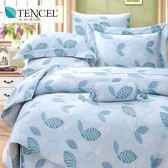 ✰加大 薄床包兩用被四件組✰ 100%純天絲《帕芙洛-藍》