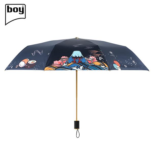 【德國boy】三折超輕黑膠防曬防潑水晴雨傘(櫻庭)