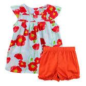 【愛的世界】快樂花園純棉圓領罌粟花半袖套裝/3~4歲-台灣製- ★春夏套裝
